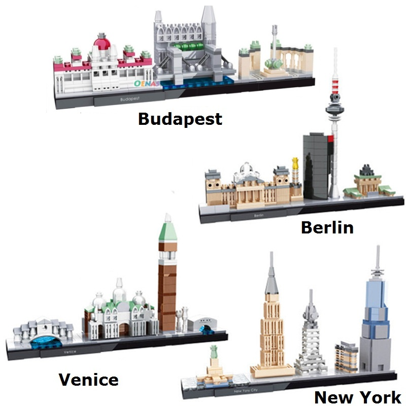HSANHE Blocks World Architecture Building Bricks New York City Model Toys For Children Educational Gifts Venice Kids Toy 6361