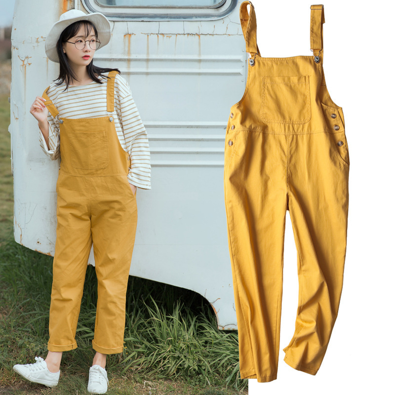 Korean Preppy Big Pocket Loose Overalls Streetwear Salopette Femme Dungarees Rompers Women Suspenders Green Yellow Jumpsuit
