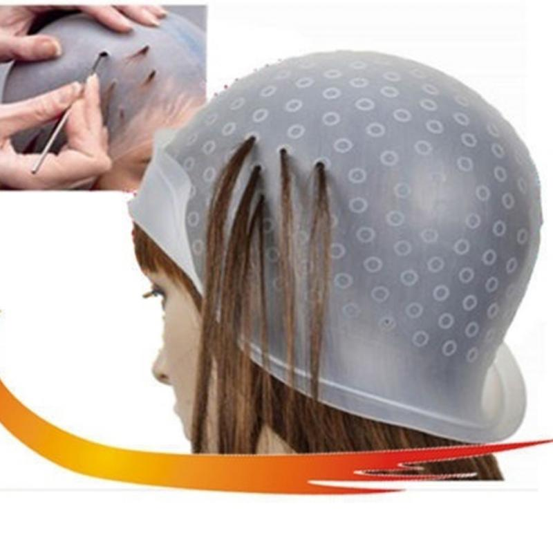 Silicone Hair Colouring Highlight Cap With Needle Reusable Dye Cap Salon Professional Hair Styling Tools