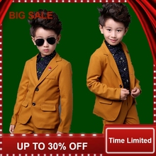 Kids 2Pcs Yellow Formal Wedding Suit for Boys Children Autumn Solid Blazer Costume