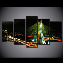 HD Printed Poster Wall Art Frame Canvas Modular Pictures 5 Pieces Sao Paulo Bridge Night Painting Living Room Home Decor .