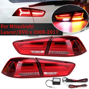 Car Rear LED Tail Brake Light for Mitsubishi Lancer EVO EVOx 2008-2017 Red Shell Lamps Signal LED DRL Stop Rear Lamp Accessories