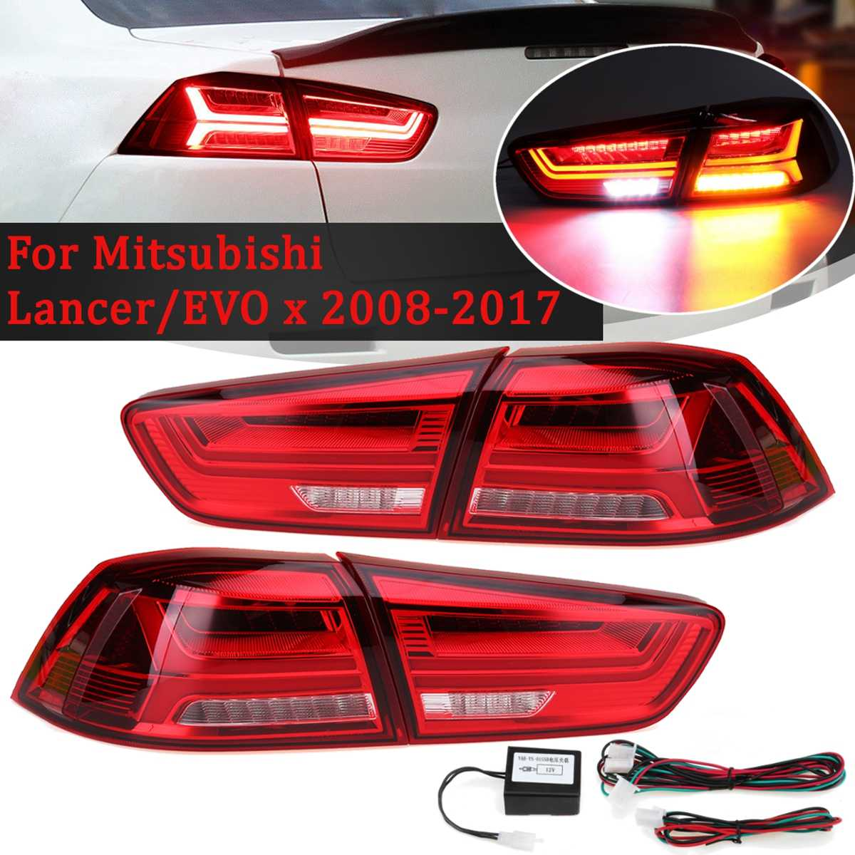 Car Rear LED Tail Brake Light for Mitsubishi Lancer EVO EVOx 2008 2017 Red Shell Lamps Signal LED DRL Stop Rear Lamp Accessories