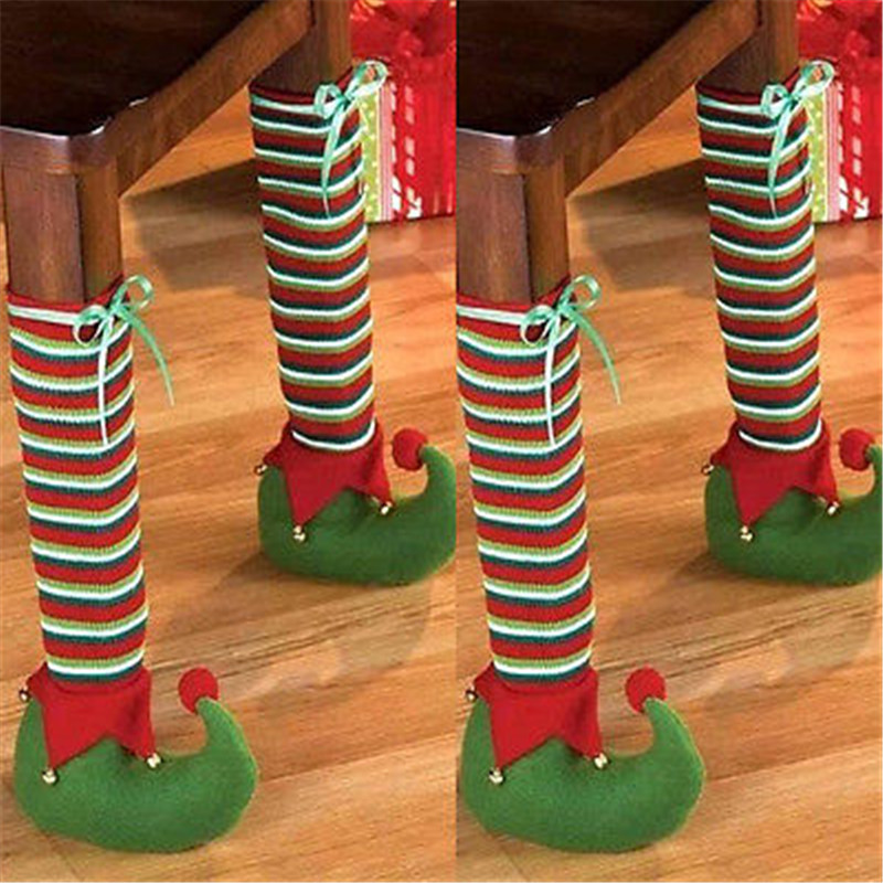 1pc Foot Shoes Chair Table Leg Covers Sleeve Christmas Decor Candy Gift Stocking