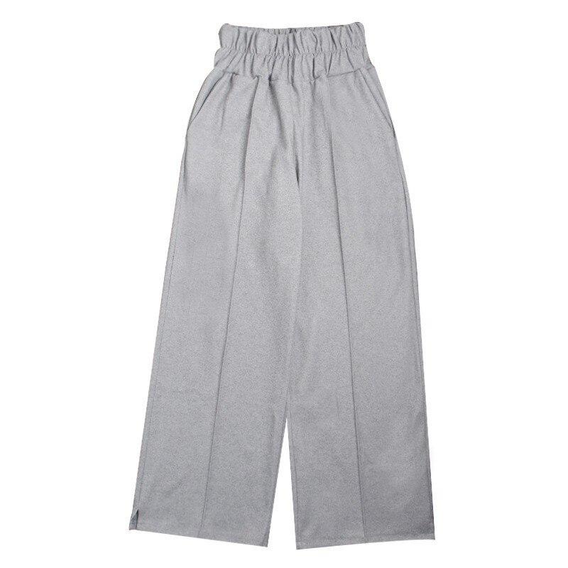 Donne Vestiti gray Vita Grigio Black 2019 Elastici Femminili Dei Primavera Pantaloni Modo Larga Di Coreano Per A Gamba Allentati Alta Le Twotwinstyle Casual xZqpRvBx