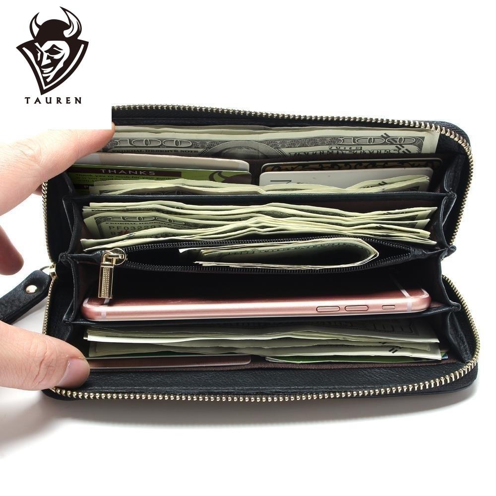 Mode Större Kapacitet 100% Verklig Äkta Läder Purse Plånbok Svart Färg Mäns Vintage Plånböcker