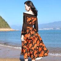 Для женщин Настоящее шелковое платье 100% шикарный элегантный Slash шеи с плеча туника платье средней длины Цветочный принт пляжное богемное пл