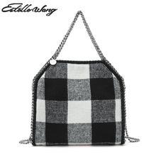 Estelle Wang Casual Tote Messenger Bags Lady Women Plaid Crossbody Bag  Small Weaving Chain Hasp Pocket bec95125f12e