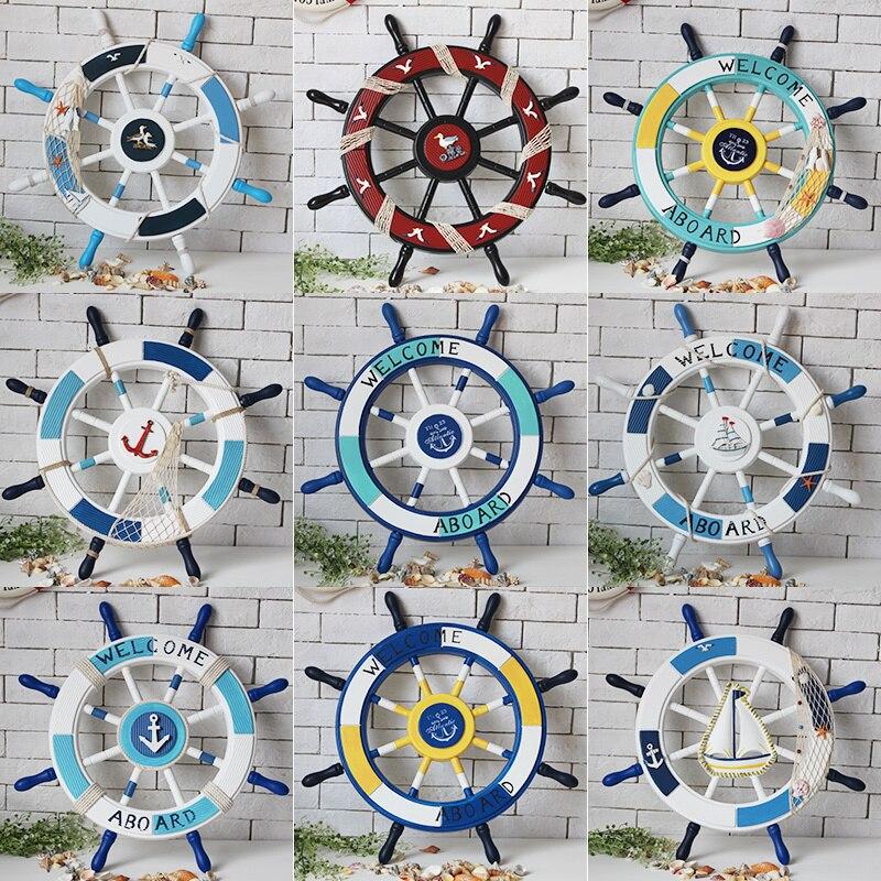 Style méditerranéen nordique bois bateau roue tenture murale décoration artisanat Art ornemental décor nautique Vintage maison mur ornemental