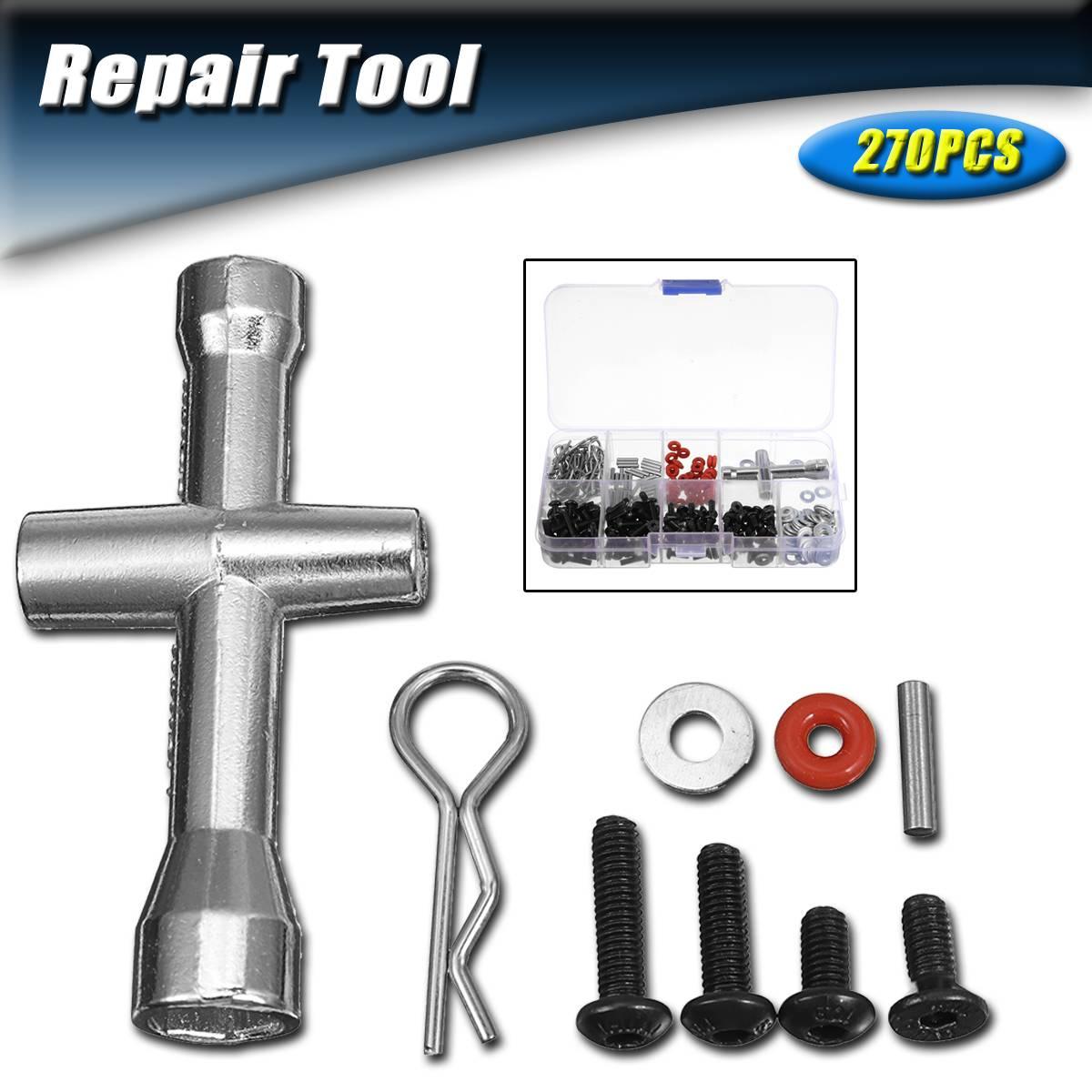 Knap 270 Stks 1/10 Hsp Rc Auto Met Inbussleutel Repair Tool En Schroeven Box Set Voor Rc Speelgoed Reparatie Tools -doos Verpakt Schroef Tool