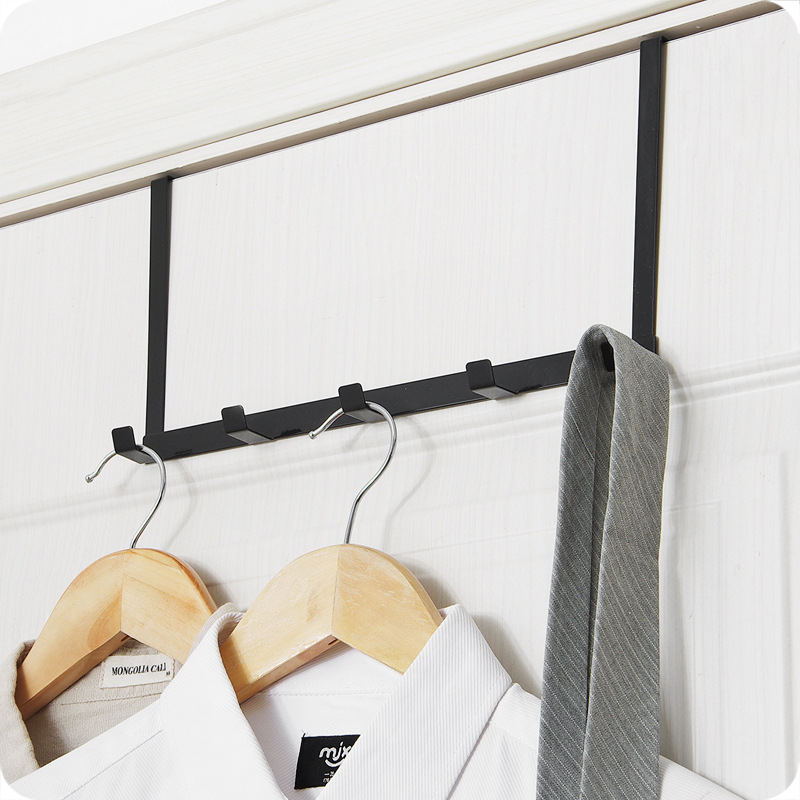 NEW Over-The-Door Hook Rack Metal Hanger Hanging Coat Hat Towel Bag Bag Organization Storage Holder White And Black