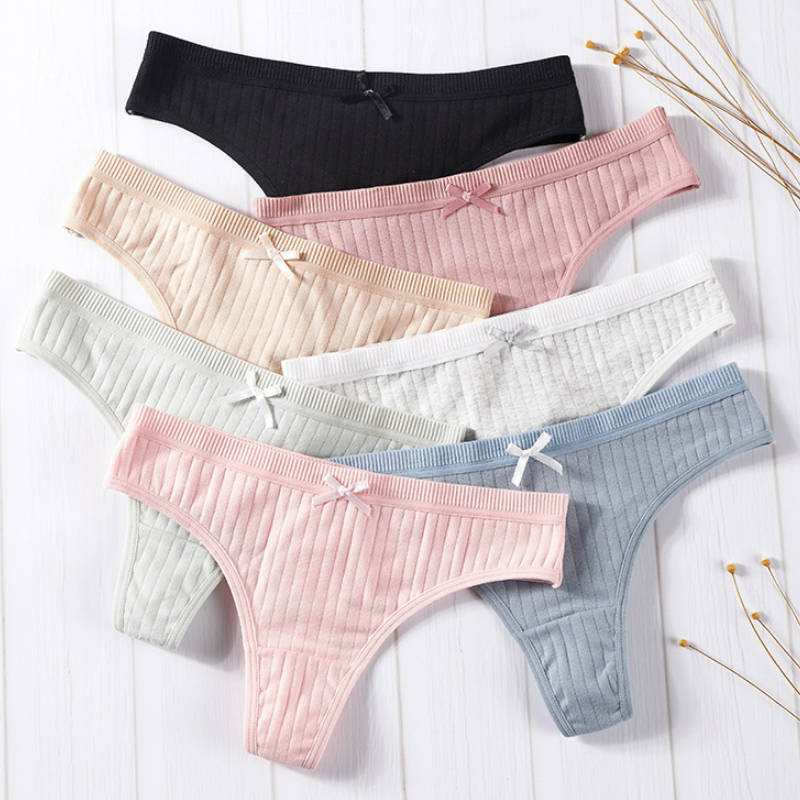 Hot Sale 1PC High Quality Women's   Panties   Thread Sexy Comfortable Female Low Waist Solid Popular Underwear Thong Cotton