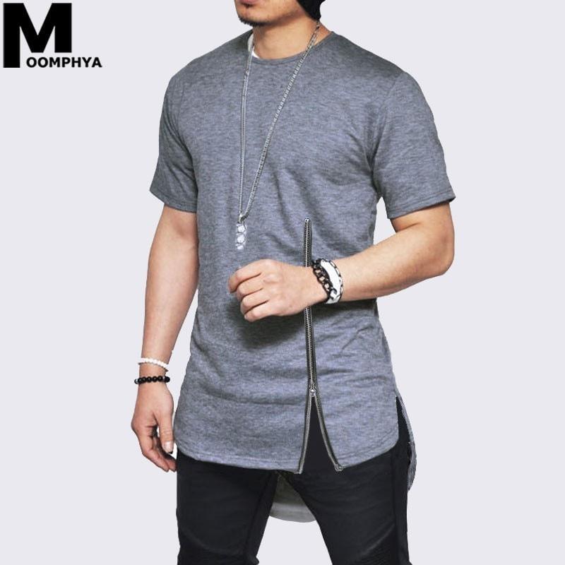 Moomphya 2019 New Zipper short sleeve men t shirt Streetwear side slit t-shirt for men Longline curve hem hip hop funny tshirt gown