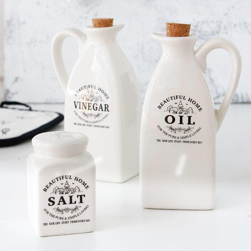Salse belle maison vinaigre huile d'olive bouteille distributeur avec liège sel et poivre Shaker Garrafa Para Azeite Sauce Pot Cruet ensemble