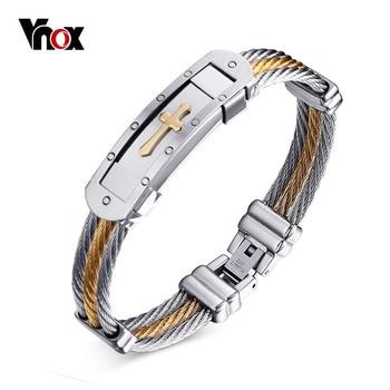 Vnox крест браслет манжета для мужчин Jewelry 20 см проволока из нержавеющей стали цепи-сувениры и подарки для >> VNOX official store