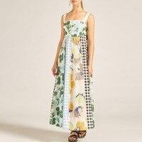 Summer Print Sleeveless Women Dress Off Shoulder High Waist Hit Color Patchwork Long Dresses Female Casual 2019 A401