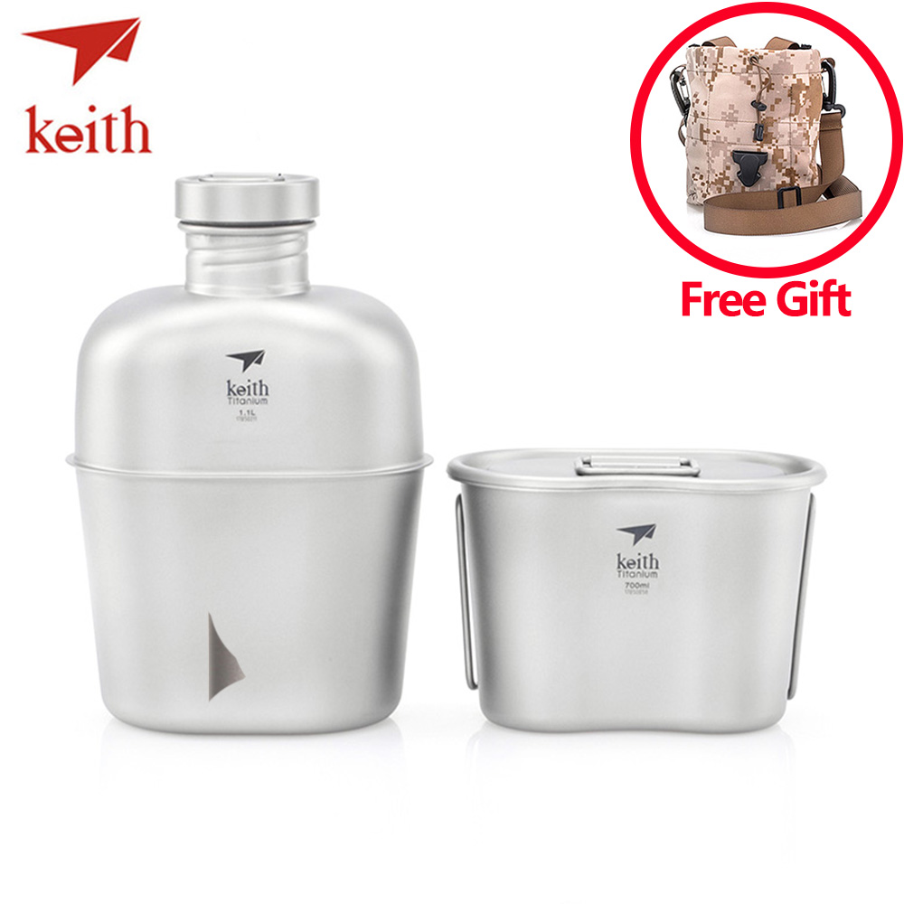Keith Ti3060 Pure Titanium Military Kettle 1.1L+0.7L Large Capacity Water Bottle Lunch Box Heatable Camping Kettle Shoulder BagKeith Ti3060 Pure Titanium Military Kettle 1.1L+0.7L Large Capacity Water Bottle Lunch Box Heatable Camping Kettle Shoulder Bag