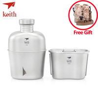 Keith Ti3060 Pure Titanium Military Kettle 1.1L+0.7L Large Capacity Water Bottle Lunch Box Heatable Camping Kettle Shoulder Bag