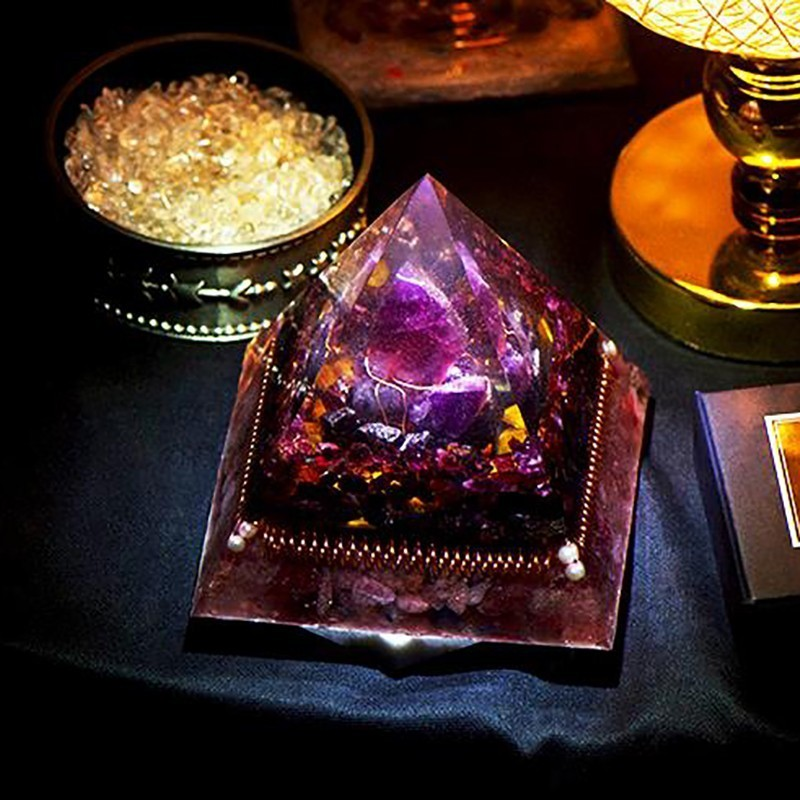 AURA REIKI Orgonite Natural Amethyst Pomegranate Stone Pyramid Improvement Business MineralCrystal Chakra Healing Gift C0047