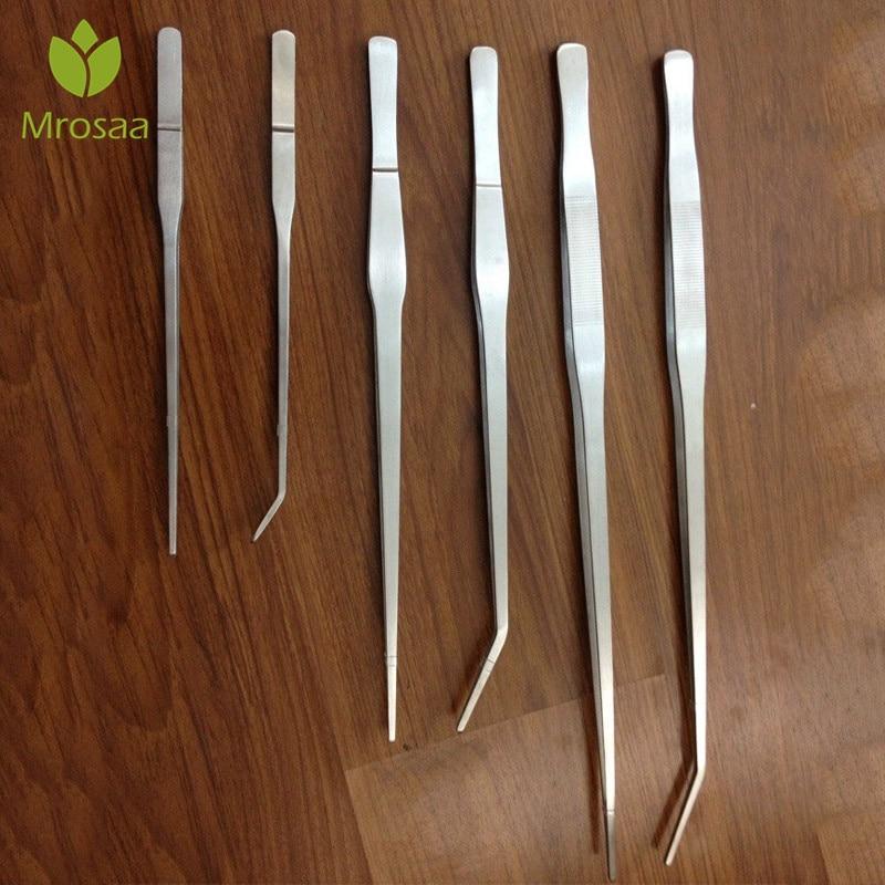 27cm/38cm/48cm Straight/Elbow Stainless Steel Fish Tank Tweezers Pliers Plants Tweezers Forceps Clip Aquarium Maintenance Tools