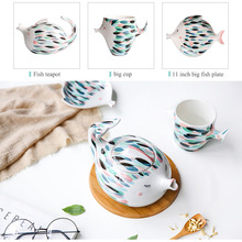 Kiss Fish Ceramic Teapot Kettle Cup Hand-painted Cup Porcelain Pu'er Tea Set Fresh Creative Gift Set Hot Sale термос xiaomi kiss kiss fish cc cup 535ml grey