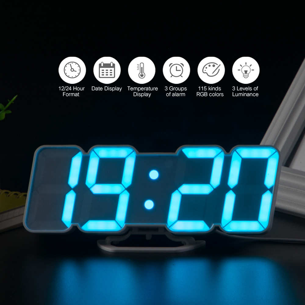 3D Wireless Remote Digital Alarm Clock USB Powered Temperature/Date Display RGB LED 3-Level Brightness Sound Control Wall Clock plywood