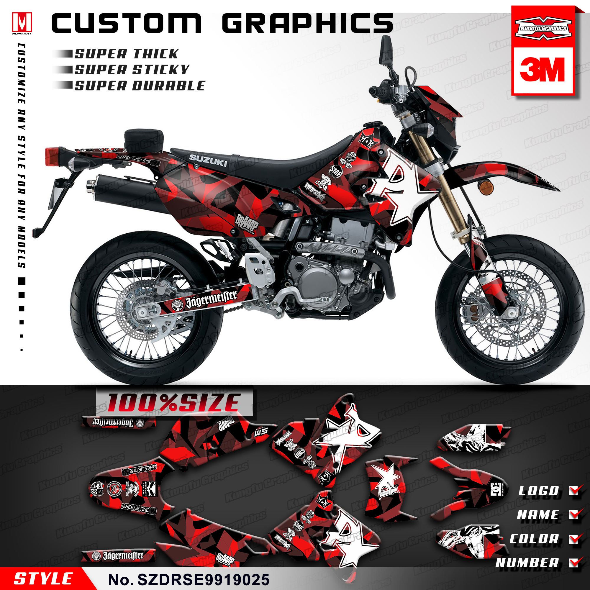 Detail feedback questions about kungfu graphics enduro race sticker kit custom decals for suzuki drz400sm drz 400 sm drz400e 1999 2019 style no