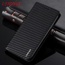 L-FADNUT Carbon Fiber Flip Leather Case For Huawei