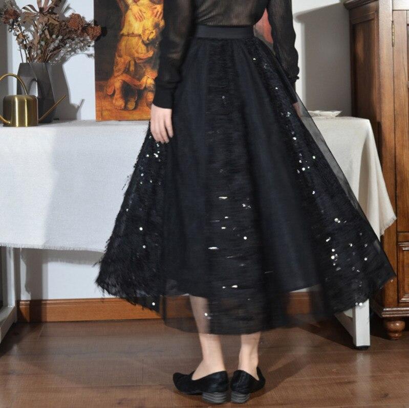 Cintura Todo fósforo Con Elástico Lanmrem Mujer Falda Nueva Del Black apricot Lentejuelas Costura Primavera Yg010 De La Malla 2019 Alta Moda aqXZ7wq