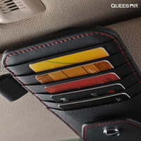Genuine Leather Auto Cards Holder Sunshade Storage Bag Holder Organizer Sunglasses Glass Credit Card Driving Licence Men Women