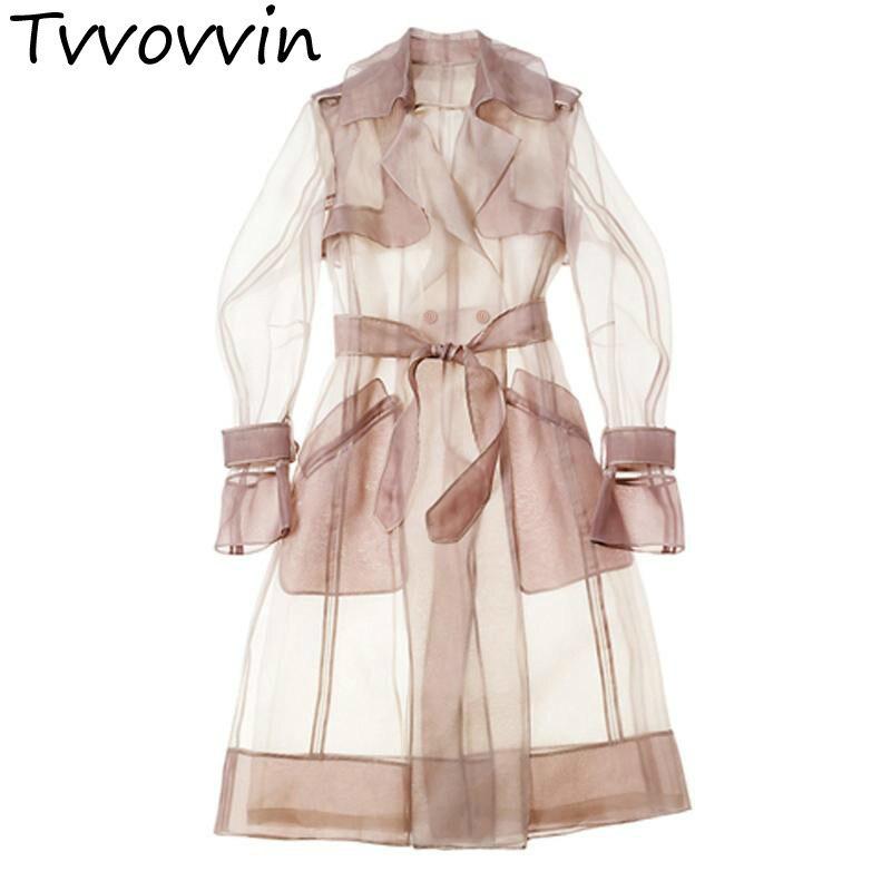 Mince Grande Femmes Manteau Gaze white Outwear Long pink Vinate Trench Sélections Retrol E292 Manteaux Taille Transparent Black Toutes Les Solaire vwqFw6B
