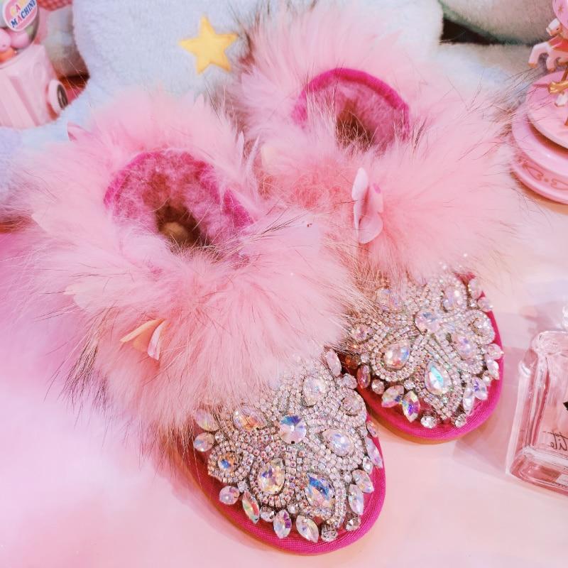 Botas As Mujeres Mujer Zapatos Cálido Real Gema Piel Invierno Bling Diamantes Imitación Tobillo Mano Aire Libre Las Nieve 2018 De Hecho A Photo Al Cristales MfpgwgqY