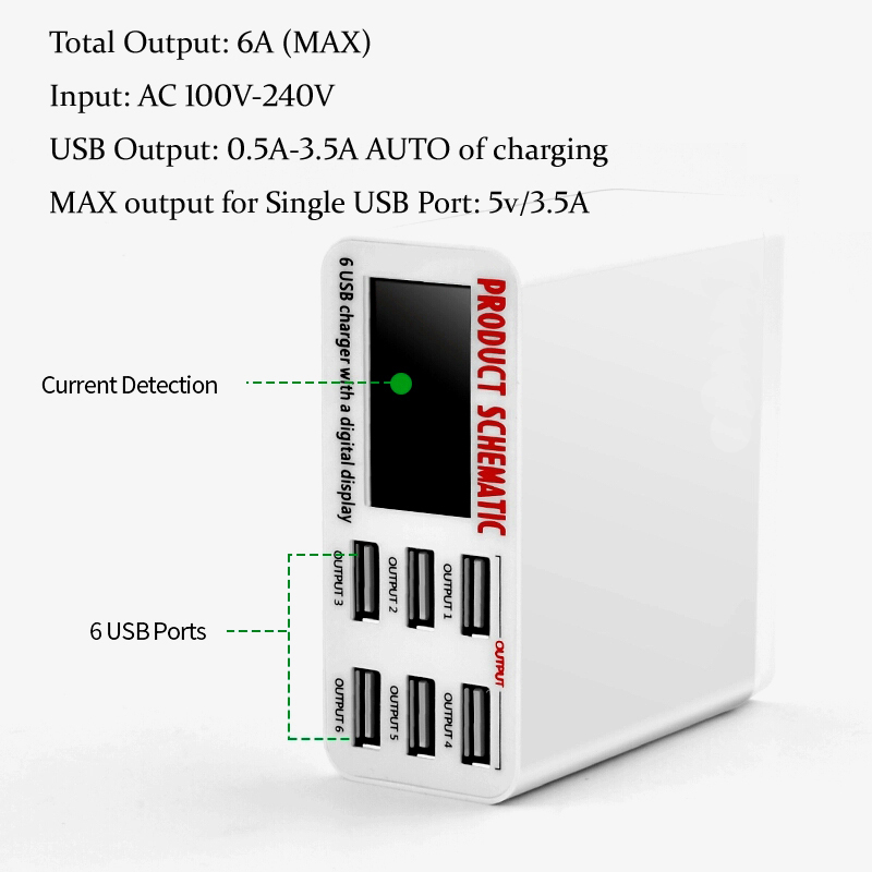 <font><b>6A</b></font> mit LCD Digital Display 6 Port USB Ladegerät Schnelle Quick Charge Smart Ladestation Adapter für Smartphone Tablet PC image