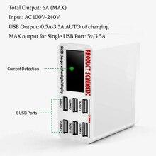 6A Có Màn Hình LCD Màn Hình Hiển Thị Kỹ Thuật Số 6 Cổng USB Sạc Nhanh Sạc Nhanh Thông Minh Đế Sạc Adapter Thông Minh Cho Điện Thoại Máy Tính Bảng máy Tính