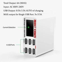 6A con pantalla Digital LCD cargador USB de 6 puertos carga rápida adaptador de estación de carga inteligente para teléfono inteligente tableta PC