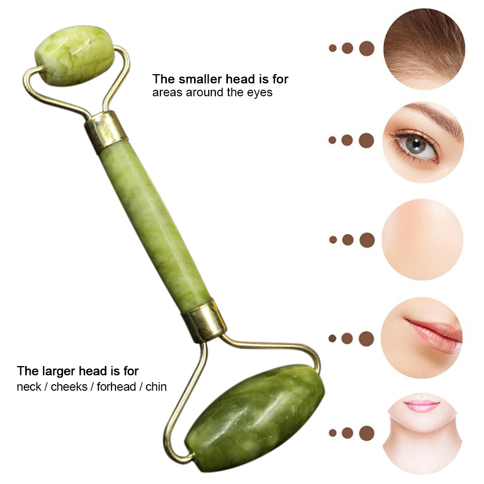 Double Head Facial Massager Natural Face Slimming Jade Stone Neck Eye Massager Jade Roller Anti-aging Face-lift Drop Shipping