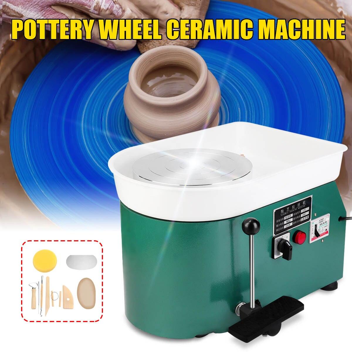 350 W 110 V US élégant vert électrique poterie roue Machine accessoire céramique argile outil pied pédale Art artisanat