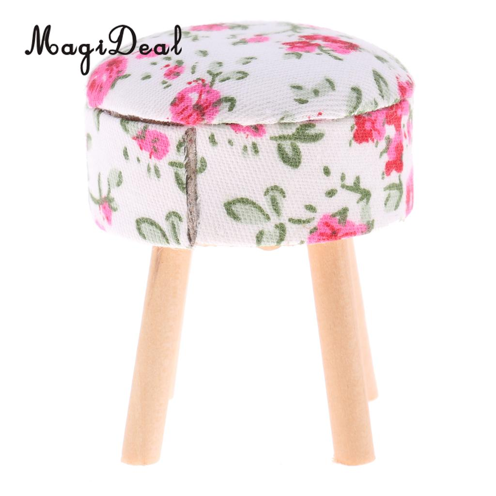 MagiDeal 1/12 Scale Dollhouse Miniature Furniture Round Floral Stool Chair For Dolls House Bedroom Decoration Children Toy