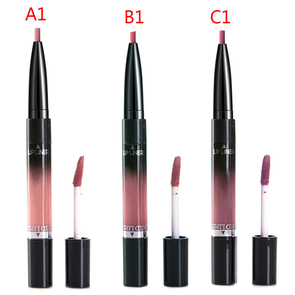 2 in 1 Lip Liner Lipstick Liquid Matte Waterproof Lip liner Contour Easy to Wear Lip Pen Makeup Red Nude Lip Pencil 5