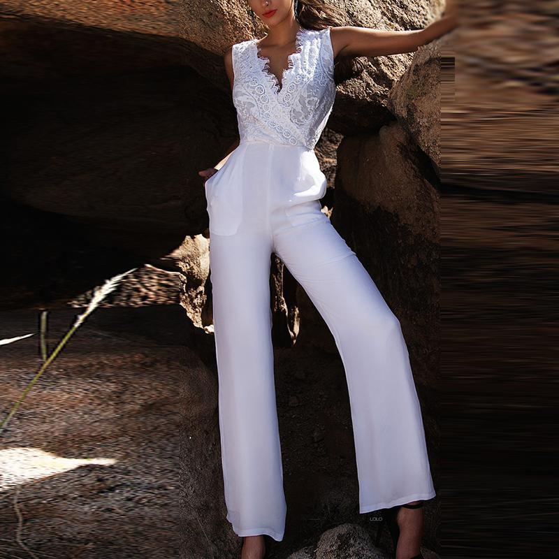 Women Deep V Long Pants Jumpsuit Playsuit   Romper   Cocktail Formal Party Clubwear lace decor white jumpsuits overalls