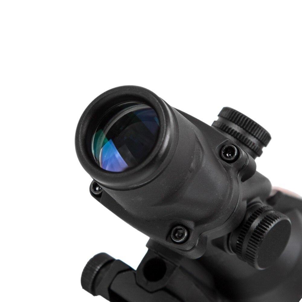 Caza rifloscopio ACOG 4X32 fibra óptica Real punto rojo iluminado Chevron vidrio grabado retícula vista óptica táctica - 4