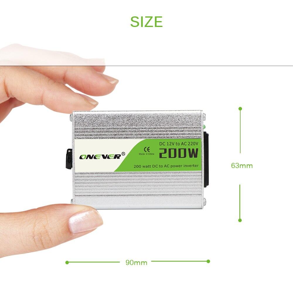 Car Power Inverter Converter 200W Modified Sine Wave Power With USB 5V Output DC 12V To AC 220V