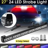 Car 12V 24 LED 27 66cm Emergency Strobe Flash Warning Light Flashing Truck Fireman Red Blue Amber yellow Lamp automobiles