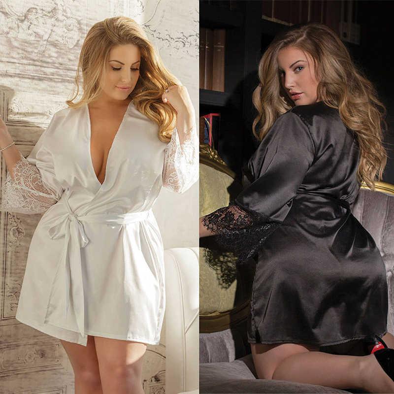 738e793cda9 2019 Women Sexy Robes Dress Lingerie Silk Lace Babydoll Nightdress Sleepwear  Nightwear Long Sleeve Casual Ladies