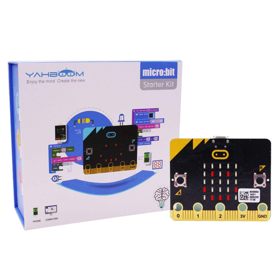 Micro:Bit Kit Starter Learning Kit Micro Bit Board Graphical Programmable STEM Toy For Kids Adults Boys With Guidance Manual