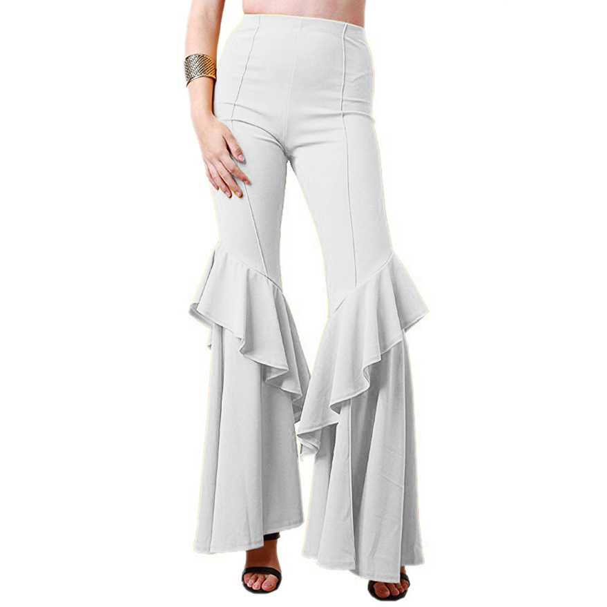 New Elegant Women Ol High Waist   Wide     Leg     Pants   Trousers Bottoms Ruffle Bell Flared   Pants   Sexy Solid Wrinkled Trousers Ladies C