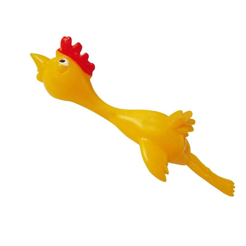 11.5CM Practical Joke Toys And Novelty Gags Funny Laugh Rubber Chicken Stretchy Flying Turkey Finger Birds Sticky Random Color