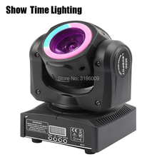 Good quality Mini Led beam moving head with led circle  60W spot wash RGBW 4 In 1 stage effect DMX 512 Control KTV DJ Party lite стоимость