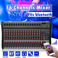 LEORY Portable 16 Channel Audio Mixer with USB DJ Sound Mixing Console bluetooth Karaoke Amplifier For Karaoke KTV Match Party