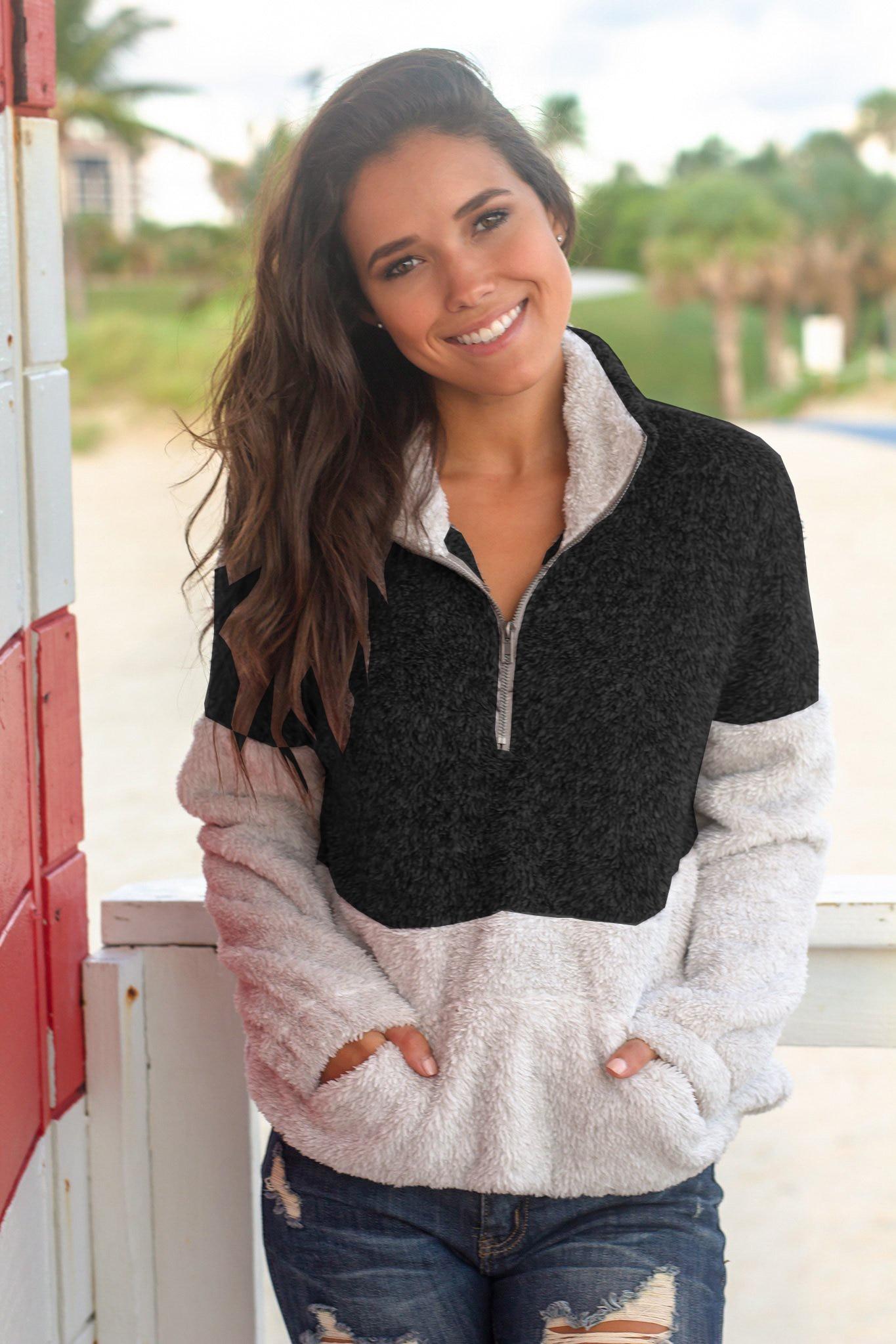 Sweatshirt Women Hoodies Harajuku Contrast Color Long Sleeve Turtleneck Zipper Hoodies Warm Casual Winter Fleece Pullover